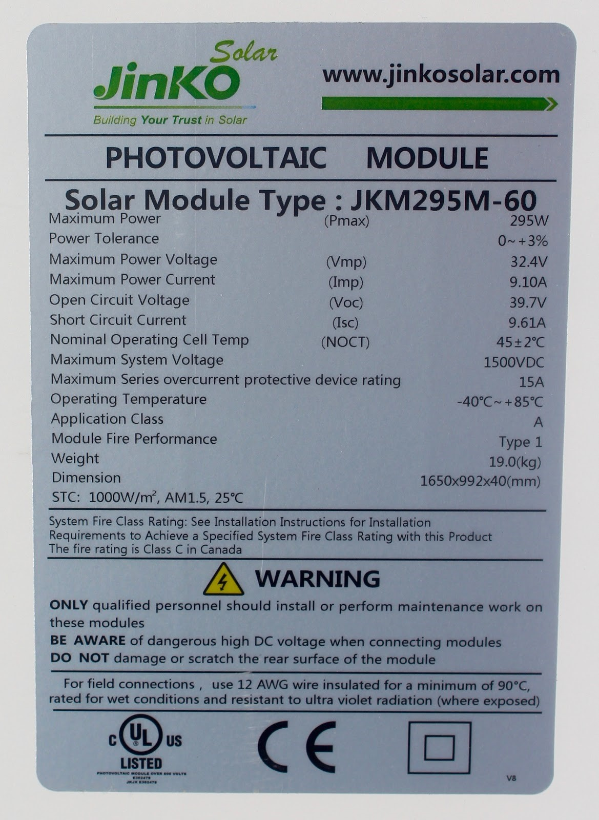 photovoltaic module label